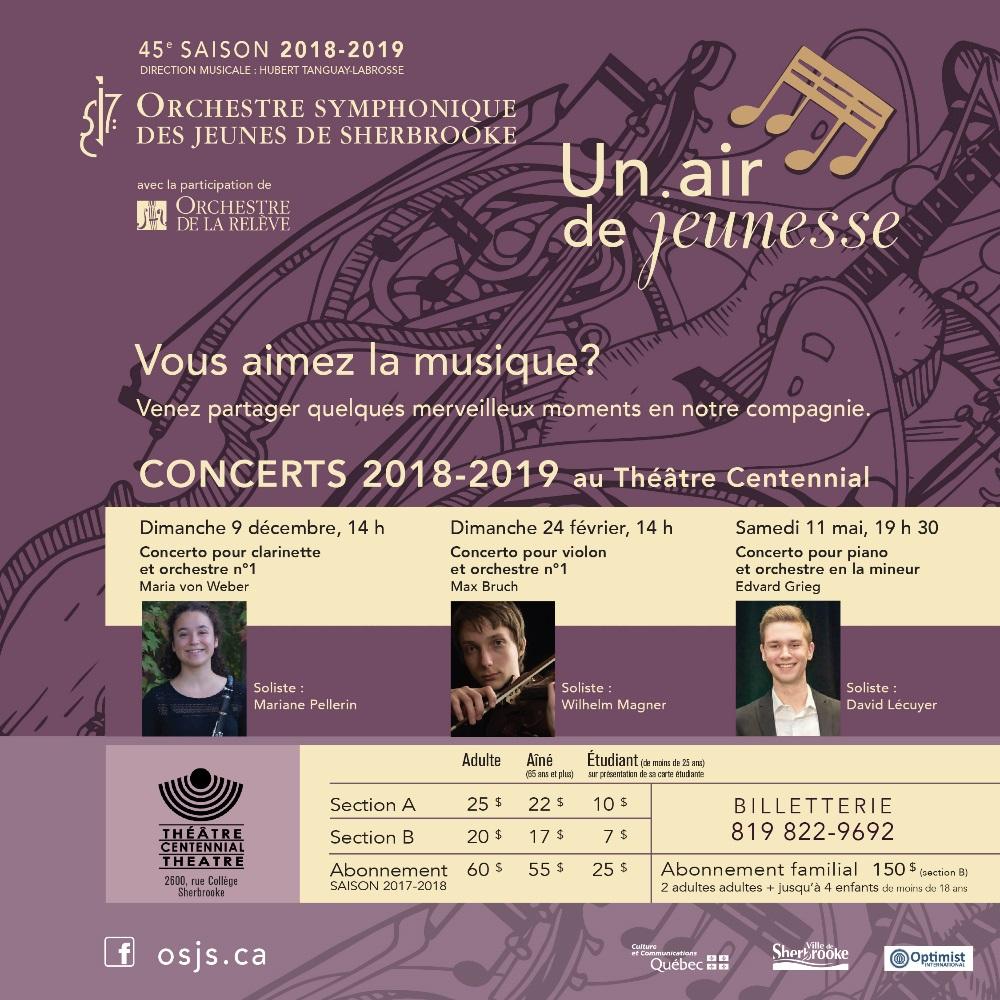 Orchestre symphonique des jeunes de Sherbrooke | 45e saison – 2018-2019